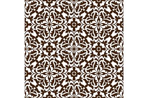 Damask seamless floral pattern with brown flowers