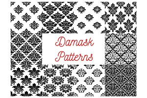 Damask floral ornate patterns set