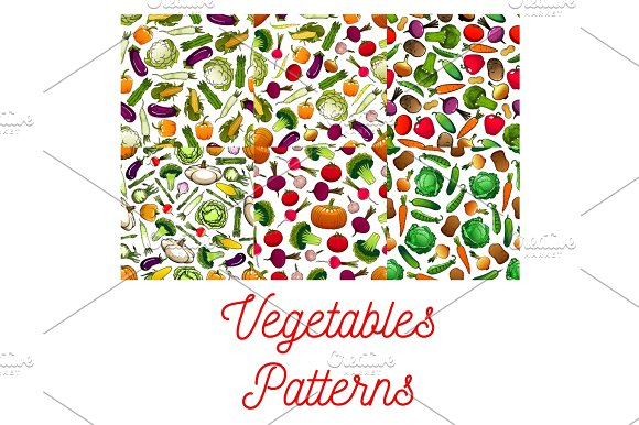 Vegetables Vegetarian Seamless Patterns Set