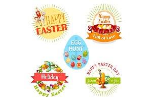 Easter holiday and egg hunt celebration label set