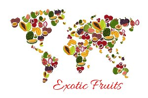 Exotic fruit world map poster for food design