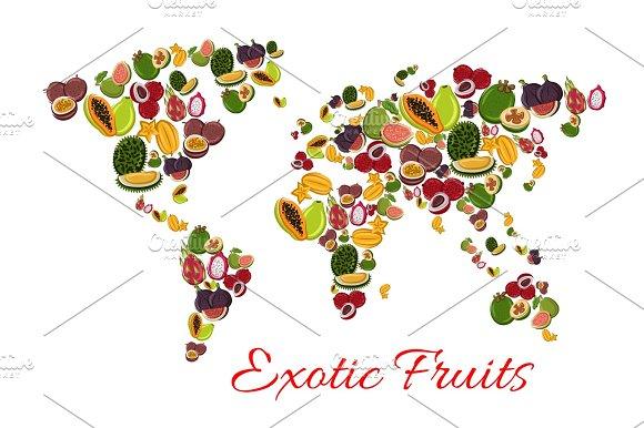 Exotic Fruit World Map Poster For Food Design Illustrations - Global map poster