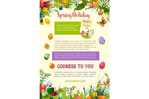 Easter spring holidays celebration poster template