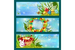 Easter Egg Hunt celebration banner template set