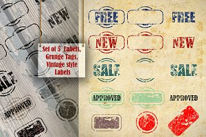 Set of 5 Grunge Style Labels
