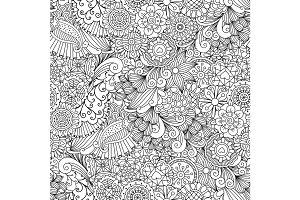 Sketchy doodles decorative floral pattern