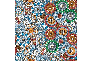 Doodle colored decorative floral pattern