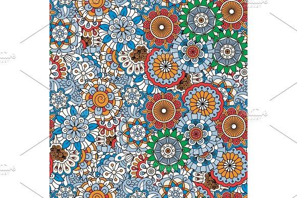 Doodle colored decorative floral pattern