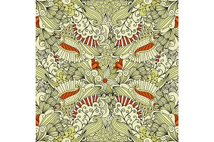 Beige and orange floral doodle pattern