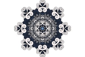 Grey and blue mandala decorative icon