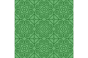 Green pattern with linear swirls