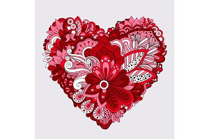 Red floral heart doodle decorative element