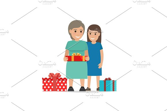 Mother and Daughter Share Christmas Presents.
