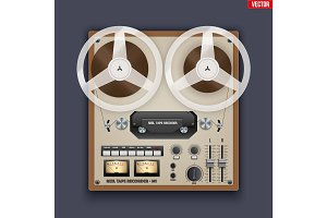 Vintage Analog Reel Tape Recorder.