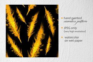 Boho style feathers gold pattern