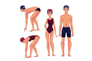 Male and female swimmers, standing upright and preparing to dive