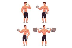 Man, male bodybuilder, weightlifter working out with barbell and dumbbell