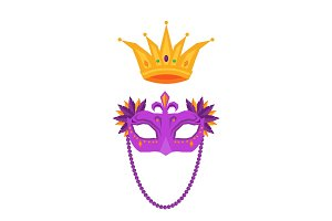 Mardi Gras. Mask and Crown Isolated Illustrations