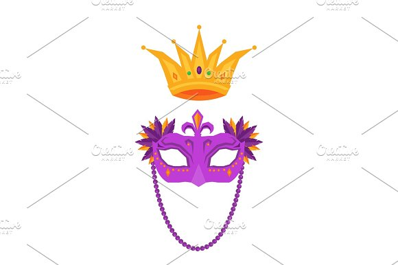 Mardi Gras Mask And Crown Isolated Illustrations