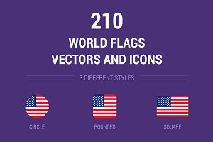 210 World Flags Vectors and Icons