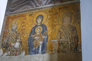 Old mosaic of Virgin Mary and child