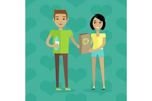 Ecological People Vector Concept in Flat Design