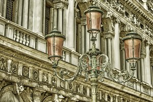 Vintage lampposts in Venice, Italy