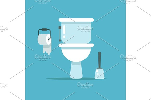 Washroom Toilet Bowl Bidet With With Toilet Paper And Toilet Brush Vector Illustration