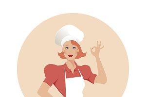 Beautiful Chef. Vector Illustration