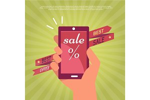 Sale in Electronics Store Flat Vector Banner