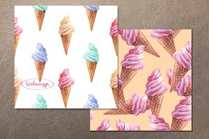 Ice cream. Watercolor patterns Set 2
