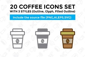 20 Coffee Icon Set With 3 Styles