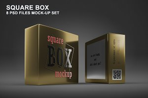 Square Box Mockup Set - 8 PSD