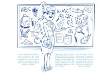 Doodle teacher teaching students on the lesson. school education vector concept with hand drawn science icons