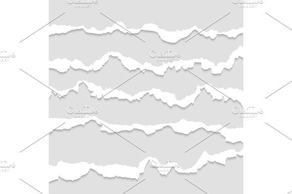 Torn Paper Ripped Papers Edge Vector Set