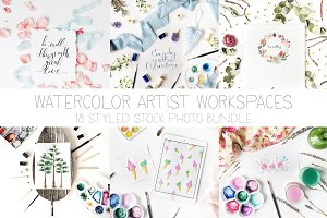 Watercolor artist workspaces
