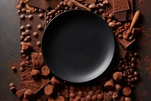frame of chocolates with plate