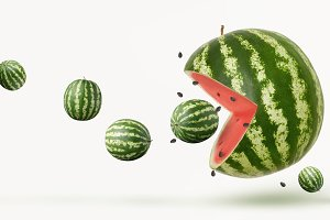 funny pacman watermelon