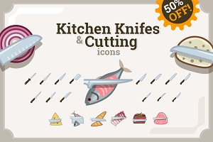 Kitchen Knifes & cutting icons (80)