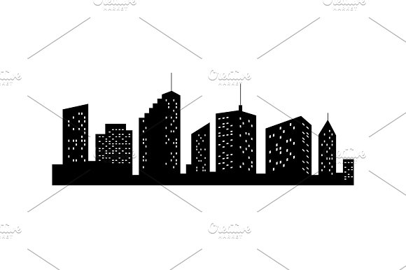 Vector Cities Silhouette Black City Icon On White Background