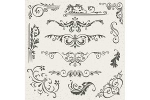 Dark flourish border corner and frame elements collection vector flourish border corner and frame elements collection vector card invitation victorian grunge calligraphic stopboris