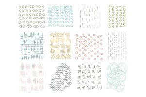 Hand Drawn Circle Hipster Ink Textures. Swirl Retro Patterns for Posters, Flyers and Banner Designs. Vector Brushes Decor Elements. Isolated on White Background. Abstract Strokes