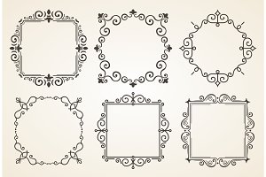 Set of Victorian Vintage Decorations Elements and Frames. Flourishes Calligraphic Ornaments. Retro Frame Collection for Invitations, Posters, Placards, Logos