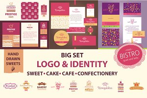 Set of hand drawn sweets and logos