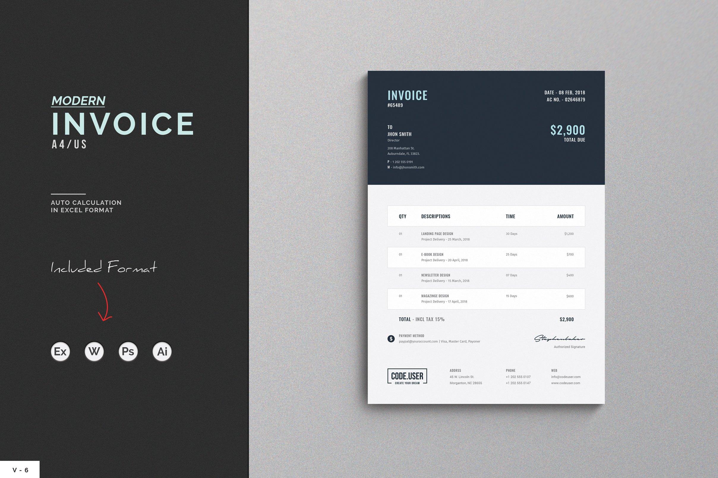 invoice stationery templates creative market