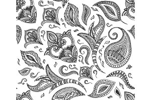 Seamless floral retro background pattern in vector. Henna paisley mehndi doodles design. Easy editing. Coloring book elements