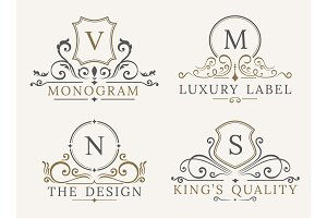 Luxury Logo Template. Shield Business Sign for Signboard. Monogram Identity  Restaurant, Hotels, Boutique, Cafe, Shop, Jewelry, Fashion. Flourishes Vector Calligraphic Ornament Elements
