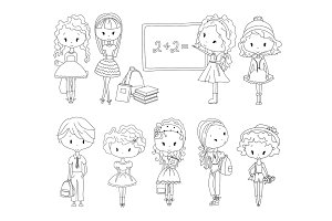 Adult Vector Coloring book pupil. School children. Girls and boy. Schoolgirl Schoolboy