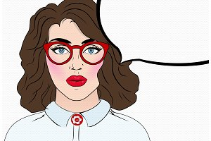 Pop art girl in glasses. Vintage comics style. Speech bubble. Retro hipster
