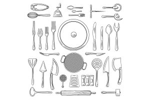 Kitchen utensils or kitchenware sketch